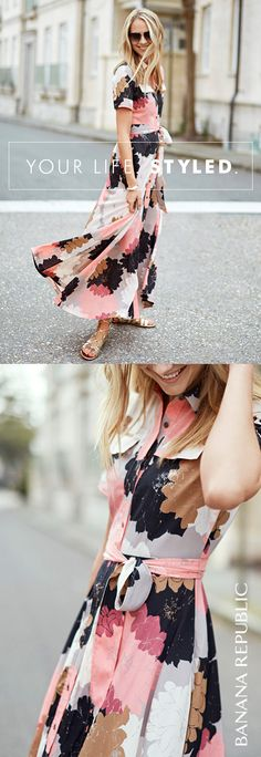 A fun abstract floral print and fresh length make this short-sleeve maxi shirt dress a must-have for summer (and blogger Fashion Jackson agrees). Find more flattering options for wherever summer takes you.