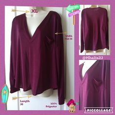 KIIND OF XL NWT oversize eggplant color excellent top oversize and wear off shoulder show off your style Tops