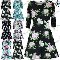 Available In Colors:Black Cream Rose, Black Skull Bone, Blue Multi Color, Green Leaves Blue Hibiscus, Tropical Leaves. Womens Dress. Floral and Skull Printed. 3/4 Sleeve. Machine Washable. Product Code: A2302. | eBay!