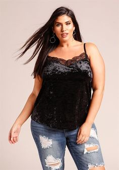 0f4133b5611d72 Plus Size Crushed Velvet Lace Trim Tank Top Lace Trim Tank Top