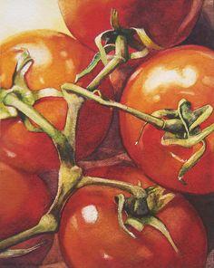 luscious tomatoes by Kara K. Bigda.  http://3.bp.blogspot.com/-EA2bg8UX1KY/UcZcoKxW0VI/AAAAAAAADo4/YqNhuzIm48M/s1600/onthevine-final.jpg