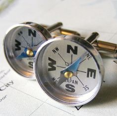 Compass cuff links  Perfect for Fathers Day by outoftheblue, $18.00    love this! very different!