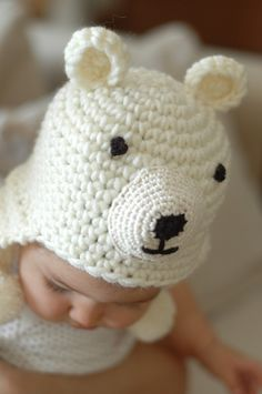 Newborn Polar Bear Hat Available size up to 0 to 3 Month Babies #babyhat @BabyList Baby Registry