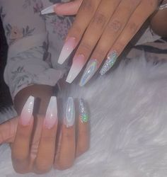 Gorgeous Nail Designs For Special Events Glam Nails, Dope Nails, Nails On Fleek, White Nails, Pink Nails, Sparkly Acrylic Nails, Color Nails, Hair And Nails, My Nails