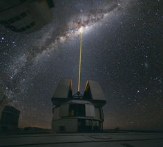 Yepun, one of the four telescope in Paranal Observatory, Atacama desert, the clearest sky in the world, Chile.
