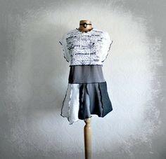 Rustic White Tunic Top Boho Clothing Long Upcycled Shirt Grey Black Women's Fashion XL