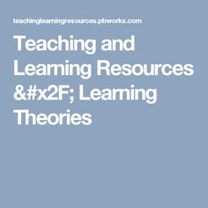 Teaching and Learning Resources / Learning Theories