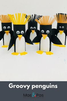 Such a fun kids craft, transforming humble toilet rolls into these funky penguins. penguin crafts Paper roll penguin craft with paper roll - Kids Crafts Toilet Paper Roll Crafts, Paper Crafts For Kids, Crafts For Kids To Make, Art For Kids, Arts And Crafts, Craft Kids, Art Crafts, Quick Crafts, Simple Crafts