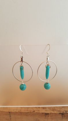 Blue Howlite Bead Earrings Spikes Round Beads Silver by LGBStyles