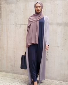 Fresh Looks - Navy Seam Front Slip Dress Mid Grey Oversized Maxi Kimono Pebble Soft Crepe Hijab www.inayah.co