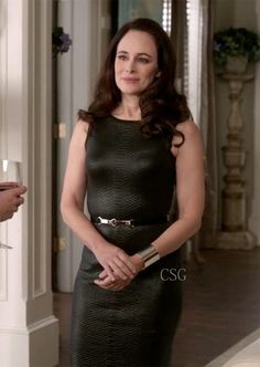 Seen on Celebrity Style Guide: Revenge Style & Fashion: Madeleine Stowe, as Victoria, wore this Black Python Lacquered Effect Dress Revenge Season 3, Episode 11: Homecoming Get It Here: http://rstyle.me/n/ef9remxbn