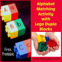 Teach the alphabet to your preschool, pre-k, or kindergarten students using Lego Duplo blocks. Free printable for matching letters included. Teaching The Alphabet, Learning Letters, Kids Learning, Early Learning, Preschool Literacy, Preschool Letters, Lego Letters, Preschool Winter, Kindergarten Centers