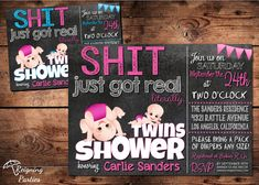 Shit just got Real Baby Shower Invitation - Funny Invitation - Twin Baby Shower Invitation - Digital on Etsy, $20.00