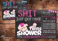 Shit just got Real Baby Shower Invitation - Funny Invitation - Twin Baby Shower Invitation - Digital on Etsy, $20.00