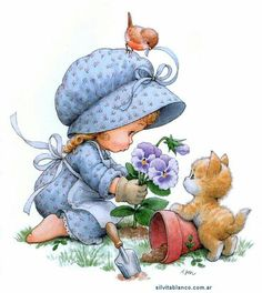 Morehead illustration - gardening with (little helpers. Vintage Cards, Vintage Images, Cute Images, Cute Pictures, Sarah Key, Holly Hobbie, Cute Dolls, Cute Illustration, Cute Drawings