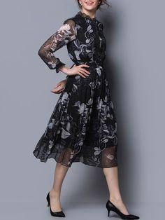 Black Long Sleeve Silk A-line Floral Midi Dress