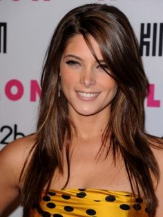 Ashley Greene - Long Hairstyle natural dark brown shade, while lengths are warmed up with golden brunette highlights.