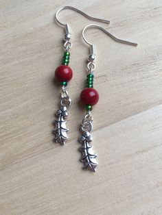 Red Coral Earrings With Green Seed Beads & Holly by MadeByMissM