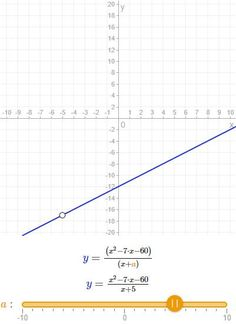 "When a=5 the graph of the function can be described as ""a line with a hole in it""."