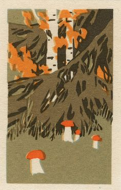 linocut - forest, so sweet. Matchbox Art, Mushroom Art, Retro Illustration, Illustrations Posters, Screen Printing, Stuffed Mushrooms, Artsy, Crafty, Art Prints