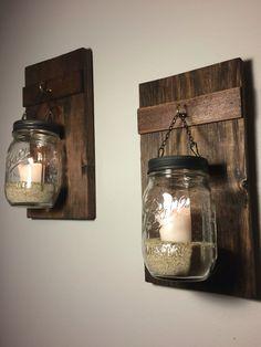 Set of 2 Hanging Mason Jars Rustic Home Decor by HeartWoodDecor