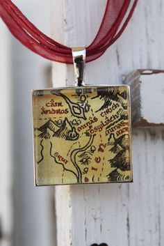 LOTR map necklace, but on a leather strap
