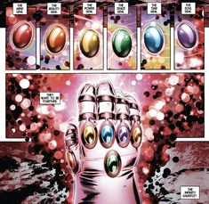 The infinity gauntlet- which is bound to be huge in the upcoming avengers and marvel movies. Still reminds me a lot of the light corps of Green Lantern but I've always been more of a DC fan so we will see Captain Marvel, Marvel Vs Dc Comics, Bd Comics, Marvel Heroes, Comic Book Characters, Marvel Characters, Comic Character, Comic Books Art, Marvel Villains
