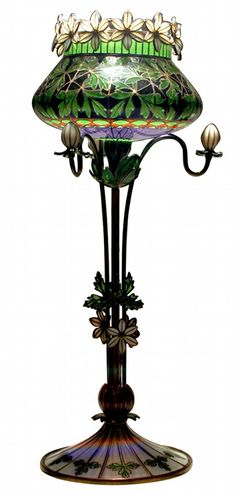 Art Nouveau Plique-à-Jour Enamel and Bronze Lamp Gustav Gaudernack, Norway