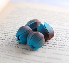 Handmade polymer clay beads turquoise blue and от ekkaBoutique