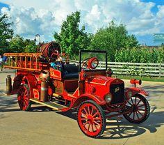 1921 Ford Model T fire truck. Note the big spotlight....