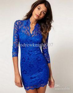 V-neck Lace  Dress BLUE