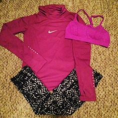 Fuchsia and black nike gym outfit, live love dream