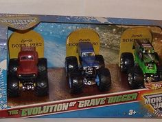 Amazon.com: Hot Wheels The Evolution of Grave Digger Monster Jam 3 Pack 1982, 1986 1991 1:64 Scale: Toys & Games