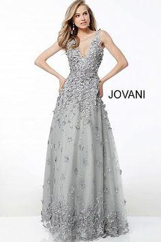 e7206de5d1 Grey Floral Applique Sleeveless A Line Evening Gown 59384