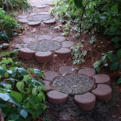 fun flower garden path idea