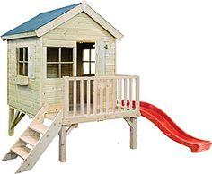 cabane enfant jardin sur pilots avec toboggan