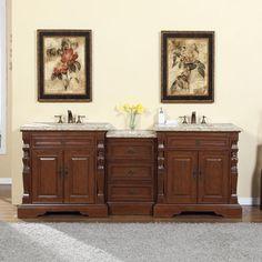 Silkroad 90 Traditional Double Sink Bathroom Vanity