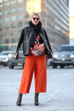 Another version of hot pants. Jamie Wei Huang jacket, Giulietta pants, Animale Brasil bag. #refinery29 http://www.refinery29.com/2015/02/82279/new-york-fashion-week-2015-street-style-pictures#slide-58