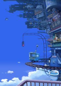 ImaginaryMindscapes - The Art of Imagination Fantasy Art Landscapes, Fantasy Landscape, Landscape Art, Fantasy City, Fantasy World, Anime Fantasy, Aesthetic Art, Aesthetic Anime, Japon Illustration