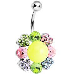 Multi Gem Neon Flower Belly Ring | Body Candy Body Jewelry
