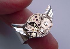 Steampunk Ring Cosmic Owl Silver Plated by CosmicFirefly on Etsy, $75.00