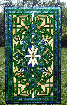 Shimmering Shasta Daisy Stained Glass Window Panel - C. H. Valhalla Designed Victorian Style