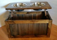 Wood dog feeder with bowls. I use reclaimed wood along with 3 / 4 inch pine to hand craft this unique piece. I use min wax and several coats of