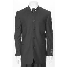 Ferrecci -Black five button mandarin collar mens suit -54 Regular