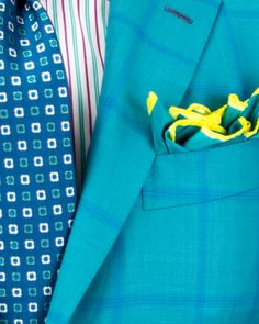 Kiton   Teal with Blue Windowpane Sportcoat   Apparel   Men's