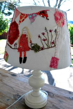 Scrap and embroidered lampshade