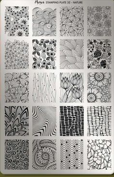 Organic black and white zentangle patterns in a 4 by 5 grid, featuring flowers, . - Organic black and white zentangle patterns in a 4 by 5 grid, featuring flowers, leaves and other na - Doodles Zentangles, Zentangle Drawings, Zentangle Patterns, Art Drawings, Zen Doodle Patterns, Flower Drawings, Easy Zentangle, Tangle Doodle, Zentangle Art Ideas