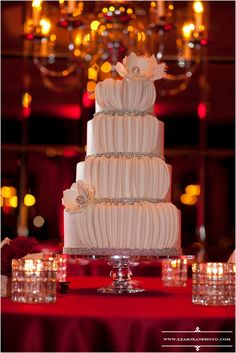 Holiday all White Wedding Cake with Crystal Banding