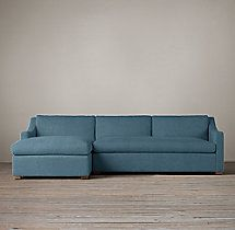 """Preconfigured Belgian Classic Slope Arm Upholstered Left-Arm Chaise Sectional. $5895 Original / $4421 Member. 96""""W x 71""""D x 32""""H. French blue linen fabric. Sofa for the library."""