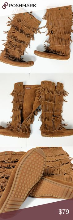 MINNETONKA | 5 layer fringe boots NWOT Women's Minnetonka 5-Layer Fringe ZipOn Boot Brown 1652  Minnetonkabrings fashion and function together.  Genuine glove tanned suede uppers  Rounded collar with fringed detailing dances with each step you take.  Cozy leather lining keeps feet warm during cold-weather wear.  Fully padded insole absorbs shock to reduce foot/leg fatigue and pressure.  Lightweight outsole is durable and offers increased grip and traction. Minnetonka Shoes Moccasins